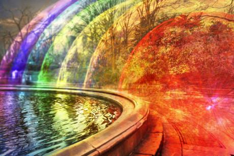 Wi-Fi-bølgerne vises her som flerfarvede kugleformer, som stråler ud fra kilden til højre i billedet.
