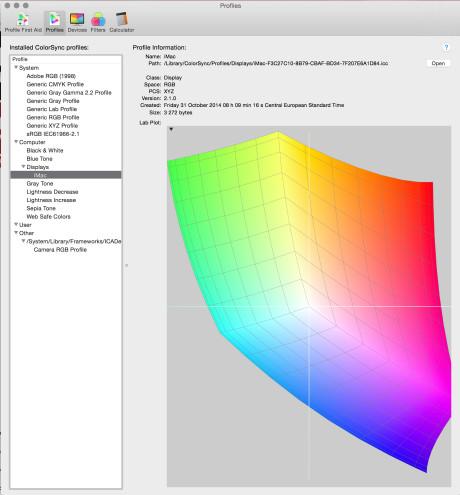 Skærmen understøtter ikke Adobe RGB, men farvegengivelsen i RGB er bedre end på iMacs med 2,5K-skærme.
