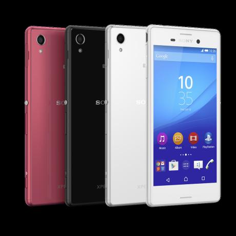 Sonys nye vandtætte mobil har en del af sit design til fælles med topmodellen Xperia Z3 og kommer, som vist på billedet, i fire forskellige farver.