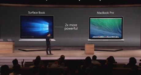 Den nye Surface Book, der angiveligt skulle være dobbelt så hurtig som Apples MacBook Pro, kommer desværre ikke på det nordiske marked i første omgang. Foto: Microsoft