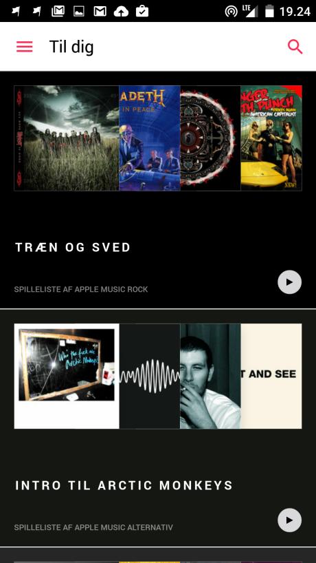 Screenshot fra Apple Music til Android
