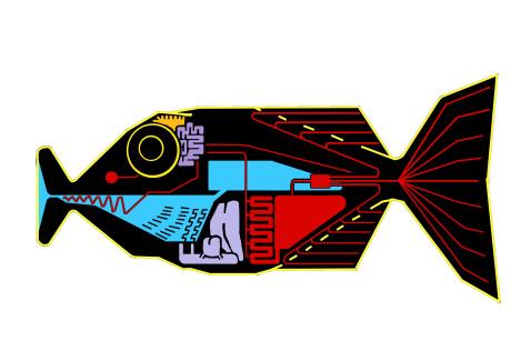 """""""Teknisk"""" illustration: Sådan oversætter babelfisken."""