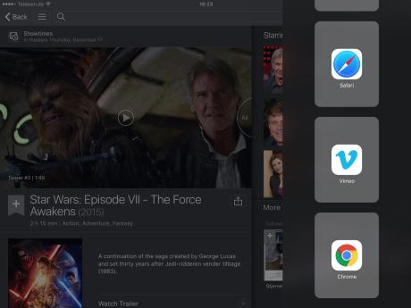 Kolonnen med tilgængelige Slide Over-apps åbner du ved at trække med en finger mod venstre fra højre side af skærmkanten. Med fingeren kan du scrolle op og ned i kolonnen for at se de tilgængelige apps.