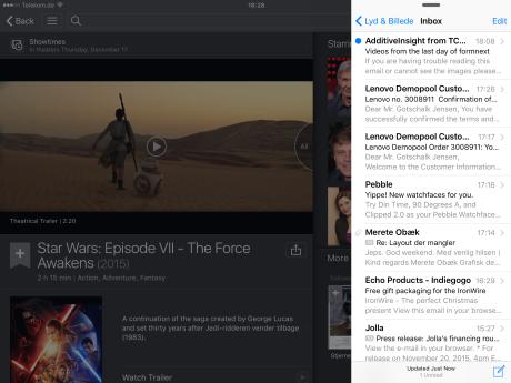 En app åbnet med Slide Over giver dig adgang til alle dens sædvanlige funktioner, blot på mindre plads.