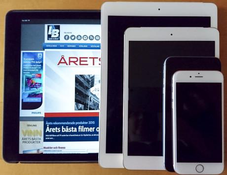 iPad Pro sammenlignet med iPad Air 2, iPad Mini, iPhone 6s Plus og iPhone 6s. Foto: Jonas Ekelund, Lyd & Billede