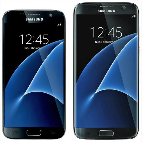 Samsung Galaxy S7 og S7 edge side om side. Foto: Samsung / @evleaks