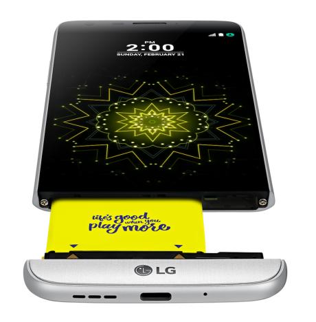 Udskifteligt batteri i LG G5. Foto: LG