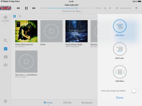 Et musikbibliotek på USB-stick eller netværks-harddisk er pænt organiseret – med ikoner, hvis de er tilgængelige.