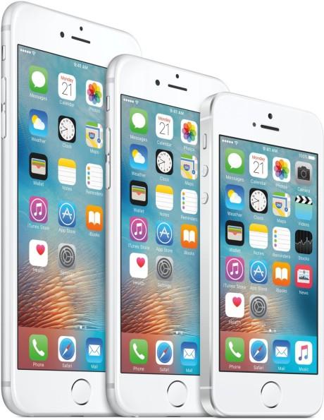 Størrelsesforskellen mellem iPhone 6s Plus, iPhone 6s og iPhone SE. Foto: Apple