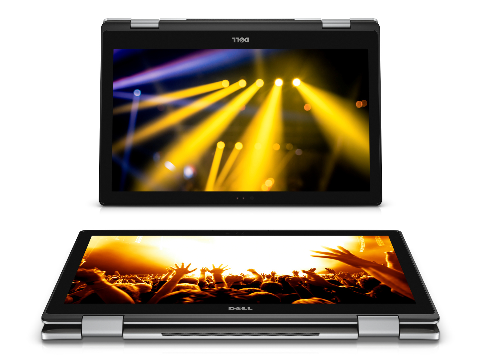 Two Dell Inspiron 15 7000 Series (Model 7569) 2-in-1 Touch notebook computer, codename Starlord, shown in tablet mode.