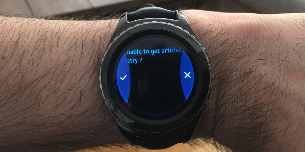 Et RSS-newsfeed burde være simpelt. Men uret skal først parres med mobilen for at få indlæst News Republic. Foto: Geir Gråbein Nordby, Lyd & Billede