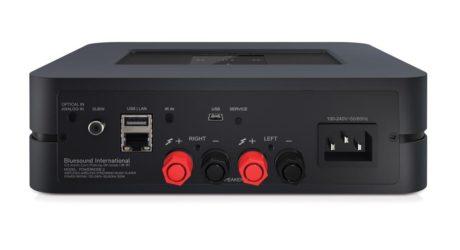 Powernode 2 har en kombineret digital og analog indgang via mini-jack samt subwoofer-udgang på bagsiden. (Foto: Producent)