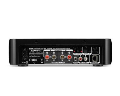 Marantz M-CR511 har godt med tilslutningsmuligheder, inklusive USB, optisk og analog indgang samt subwoofer-udgang. (Foto: Producent)