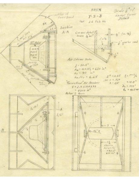 Paul Klipschs originale tegninger til bashornet fra 1946. (Foto: Producent)