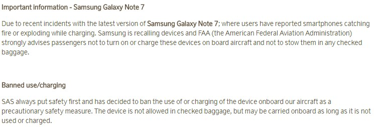 SAS advarer om brug og transport af Note 7. Telefonen må ikke tændes eller oplades om bord, og den må ikke anbringes i den indtjekkede bagage.