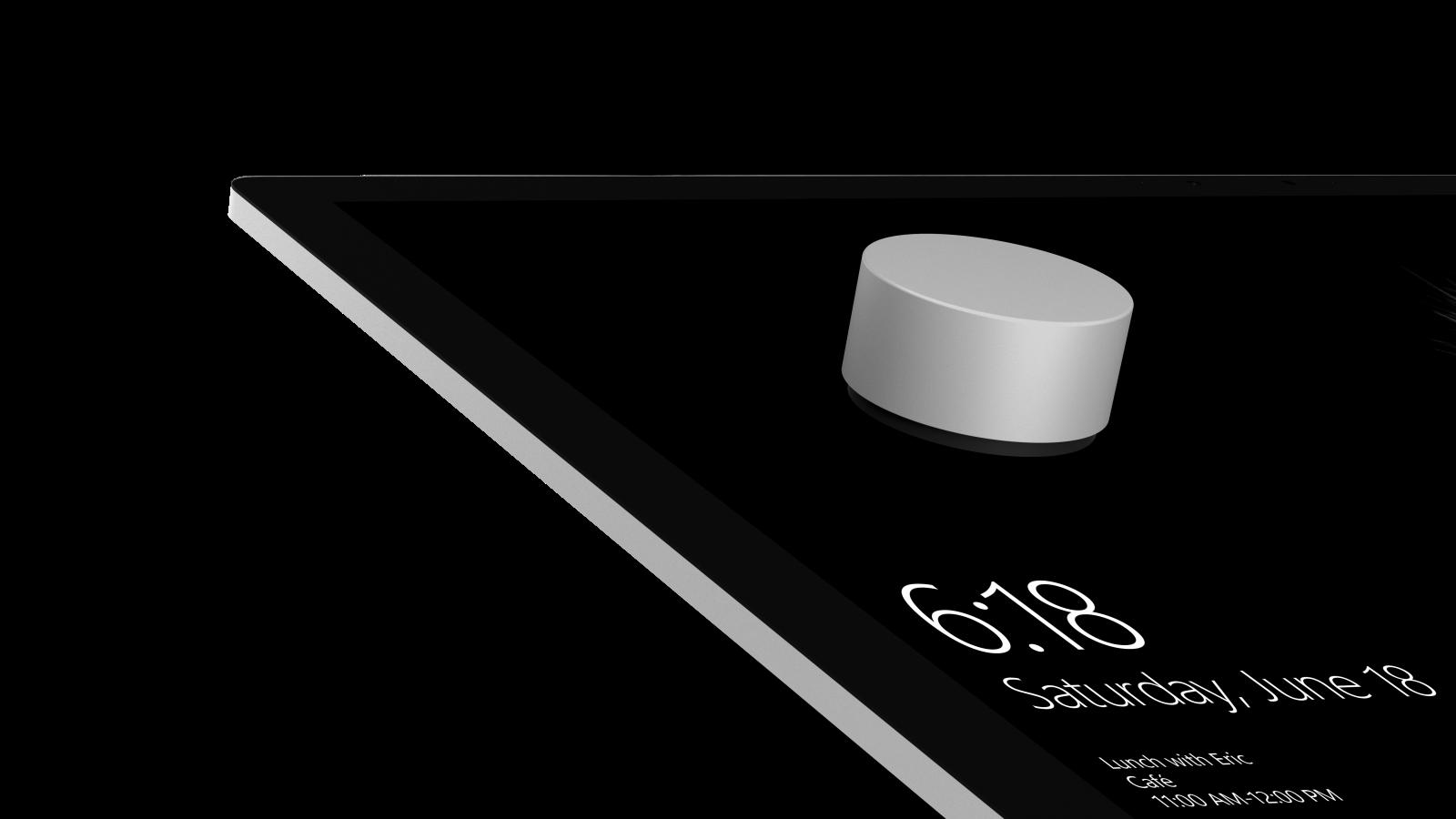 """Surface Dial er en trådløs """"drejeknap,"""" der kan bruges til forskellige enheder. Foto: Microsoft."""