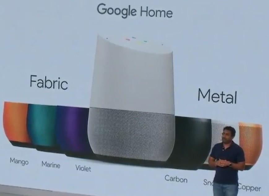 Google Home fås i 7 forskellige farver. Foto: Google