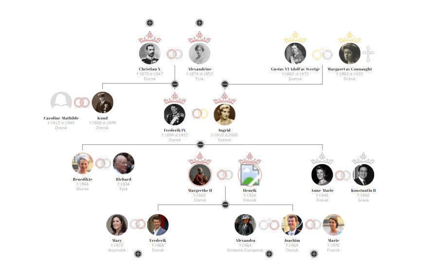 Kongehuset er internationalt. Bare inden for fire generationer er der hentet medlemmer fra seks lande. Skærmdump fra hjemmesiden.