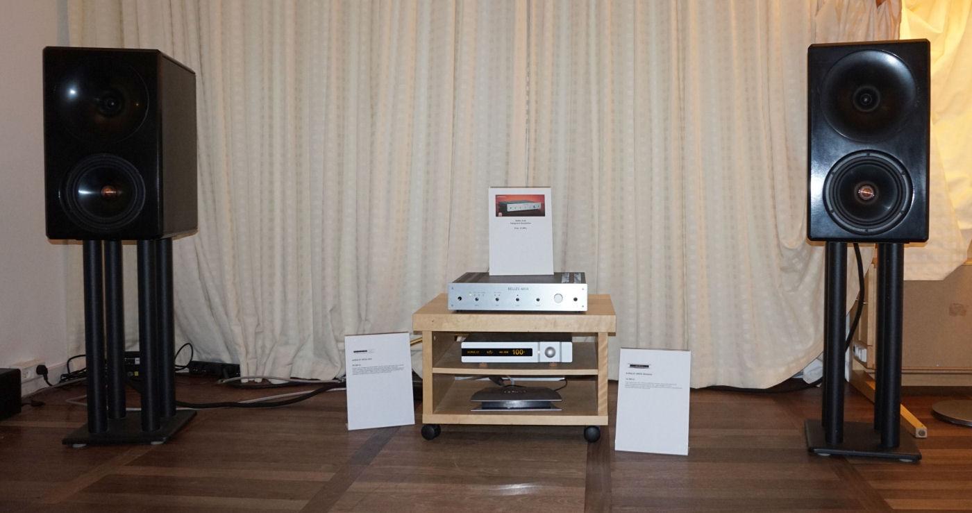Hos Stuiosound kunne man høre den kompakte integrerede Belles Aria. Højttalerne er et projekt, som man har arbejdet på i mere end et år. Foto: John Alex Hvidlykke, Lyd & Billede