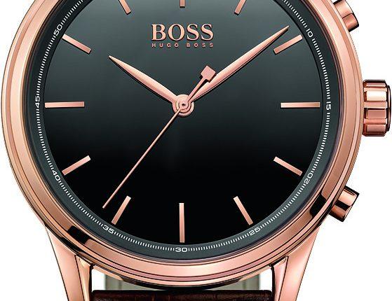 Urkapslen er i rosa guldfarvet rustfrit stål, og remmen i cognacfarvet læder.
