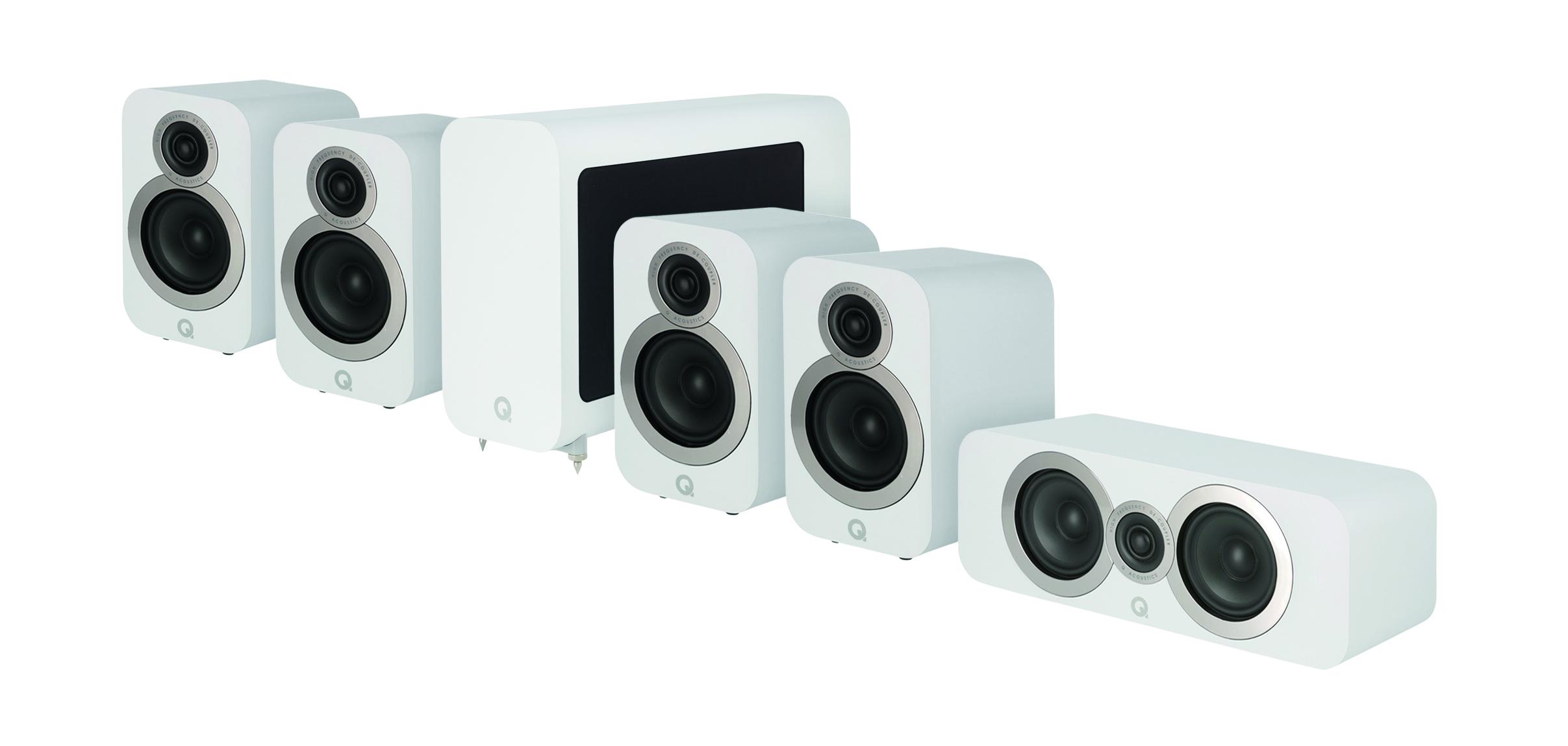 """Man kan välja mellan två """"hemmabiopaket"""" med fem högtalare och subwoofer. Foto: Q Acoustics"""