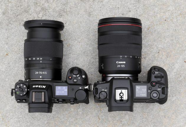 Nikon Z7 og Canon EOS R side om side.