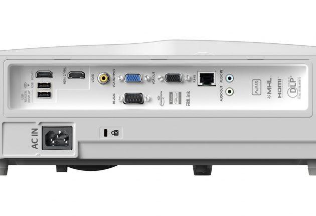 HD31UST har to HDMI-indgange, og læg mærke til lydudgangen af typen 3,5 mm minijack. (Foto: Optoma)