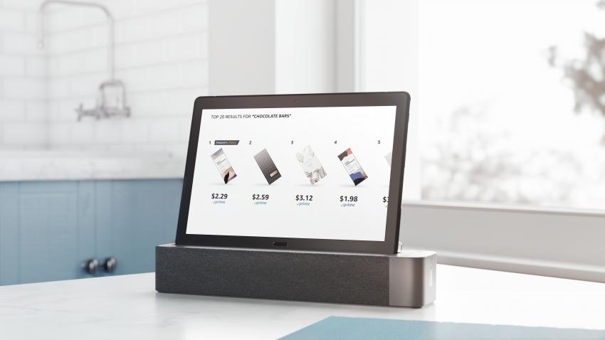 Shopping på Amazon.com via Alexa på Lenovo Smart Tab P10. Foto: Lenovo