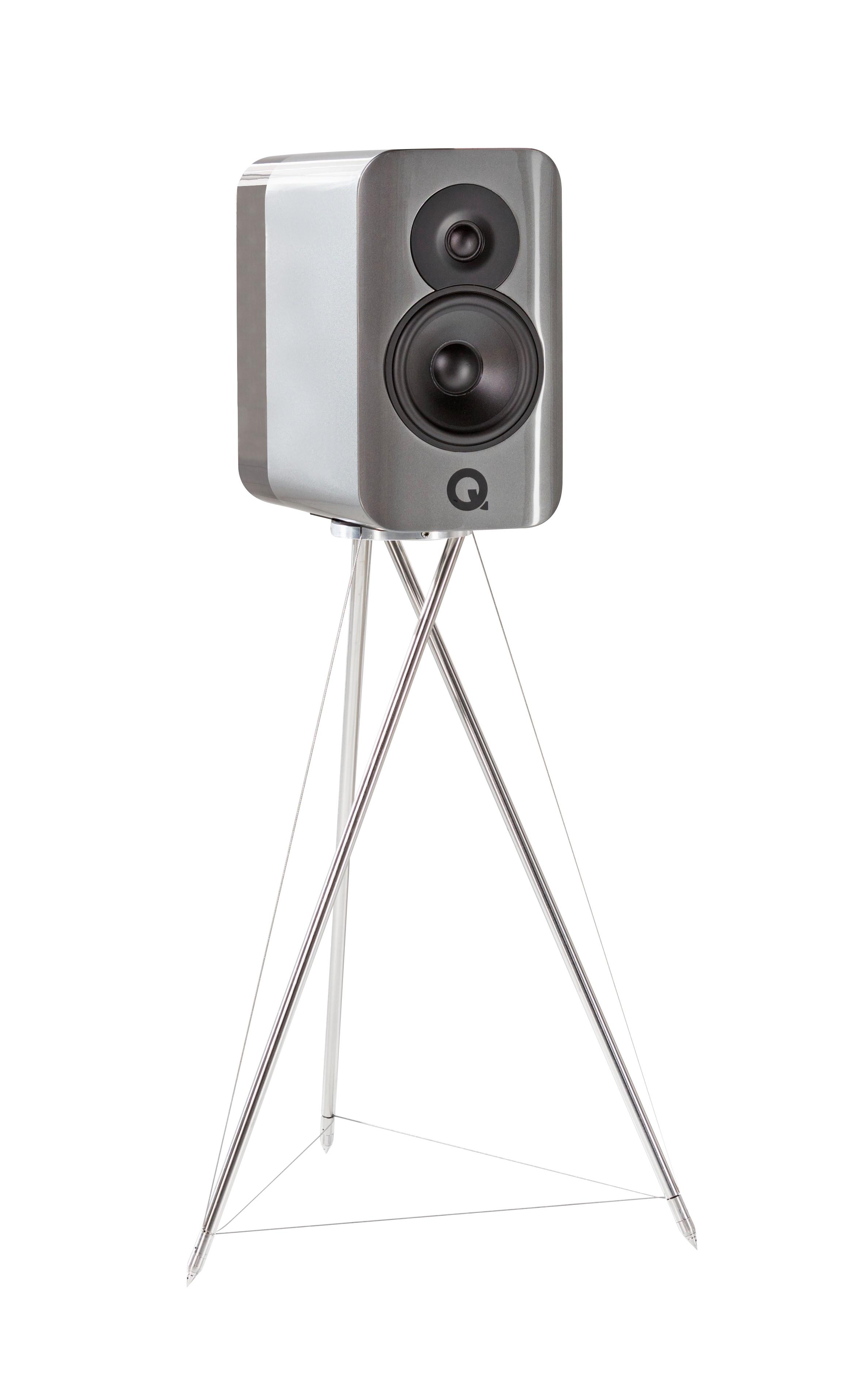 Det ovanliga stativet är integrerat i kabinettet. Foto: Q Acoustics