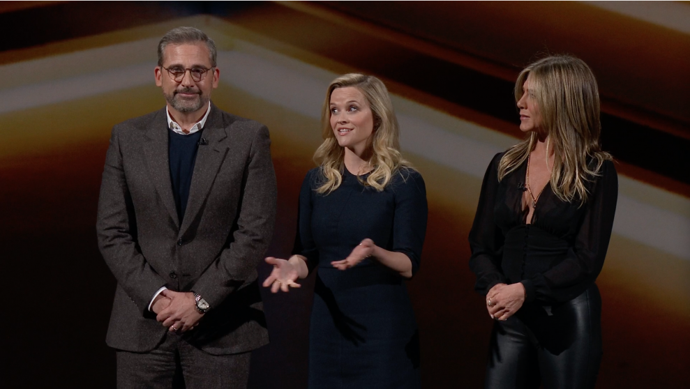 Steve Carell, Jennifer Aniston och Reese Witherspoon presenterar sin nya serie The Morning Show. Foto: Ljud & Bild