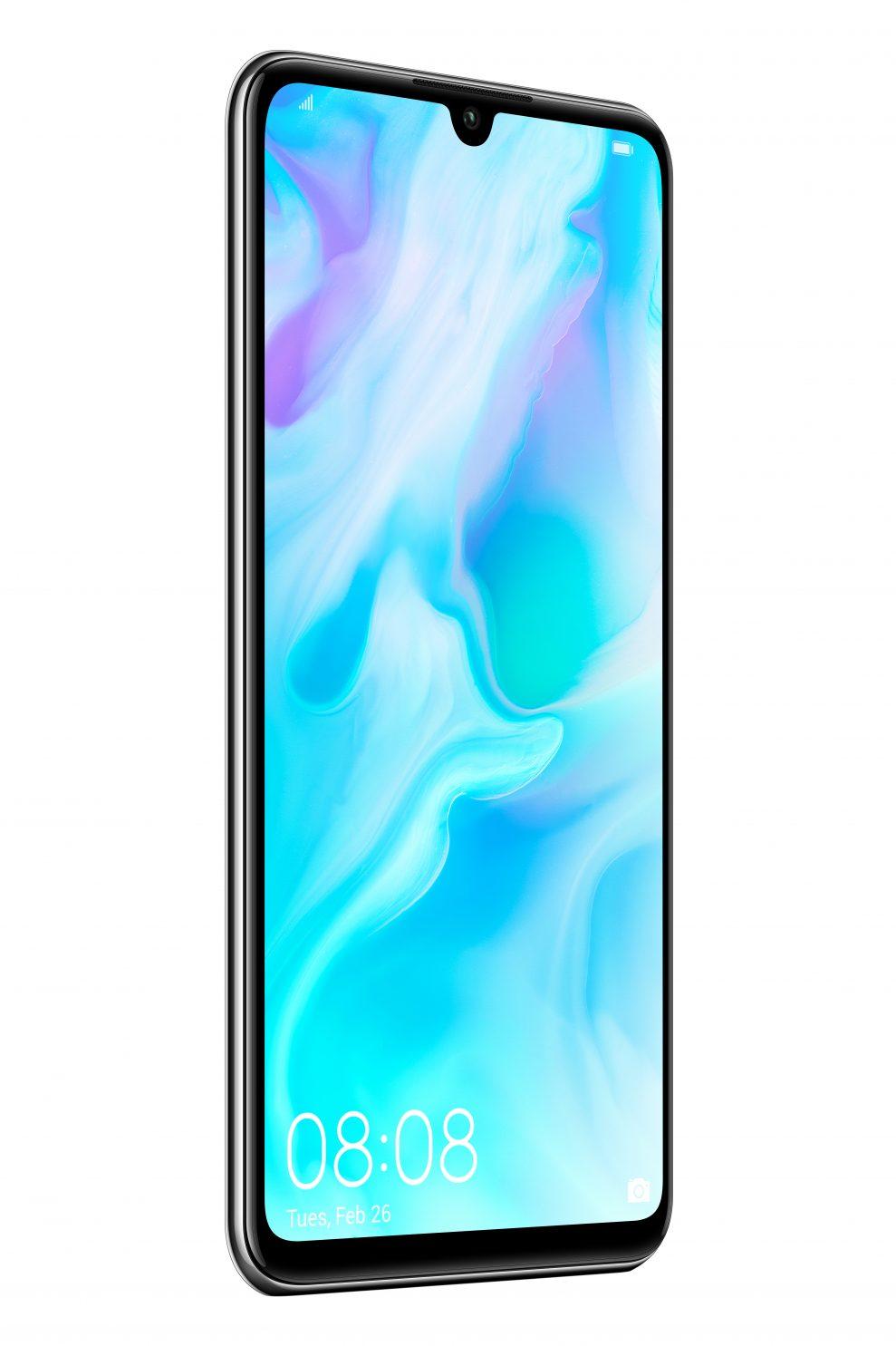 Precis som P30 Pro har nya P30 Lite den så kallade Dewdrop Display-skärmen med en minimal flik för frontkameran. Foto: Huawei